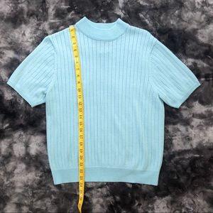 Vintage Tops - Vintage Sag Harbor Subtle Sparkle Blue Knit Top